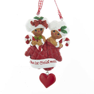 "Kurt Adler Gingerbread ""Our 1st Christmas"" Ornament For Personalization, H5529"