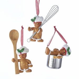Kurt Adler Gingerbread Boy Utensil Ornaments, 3 Assorted, H5548