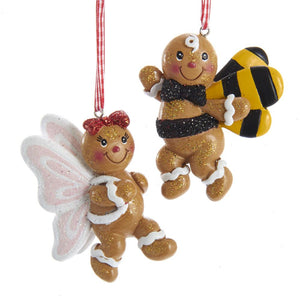 "Kurt Adler 3.5""Gingerbread Boy Bee/ Girl Butterfly Ornaments, 2 Assorted, H5551"