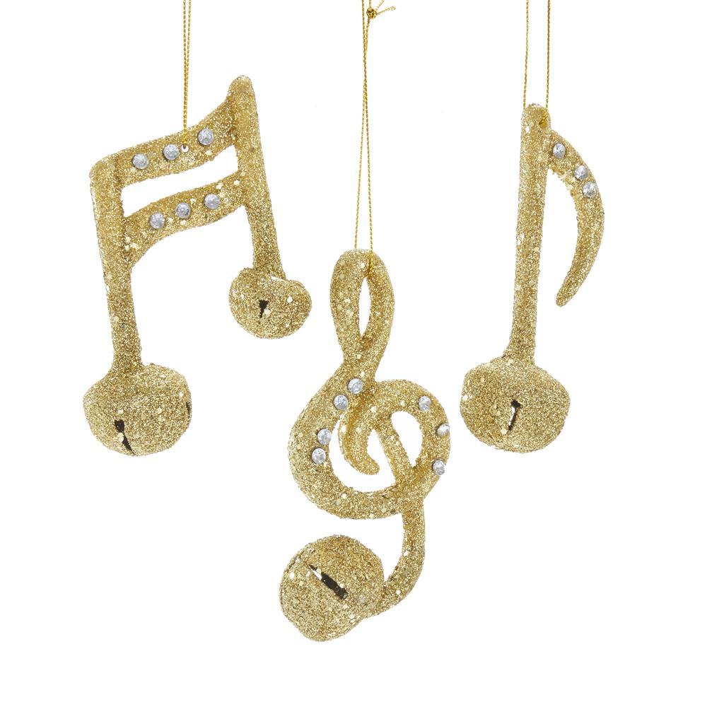 Kurt Adler Gold Glitter Musical Bell Ornaments, 3 Assorted, H9139