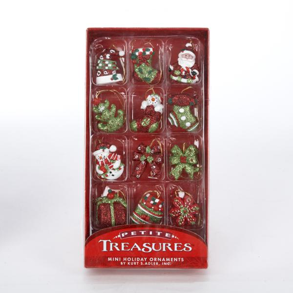 Kurt Adler Petite Treasures Miniature Peppermint Ornaments, 12-Piece Box Set, H9330