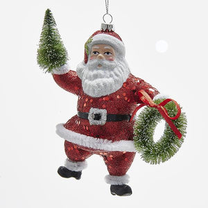 Kurt Adler Red Glittered Santa with Tree and Wreath Ornament, H9547