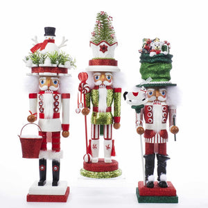 Kurt Adler 18-Inch Hollywood Snowman Hat, Toy Maker Hat and Candy Hat Nutcrackers, 3 Assorted, HA0412