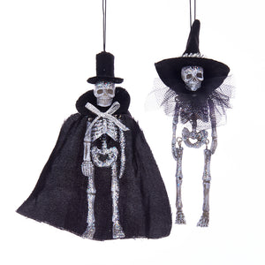 Bride & Groom Glitter Skeleton Ornament, HW1736