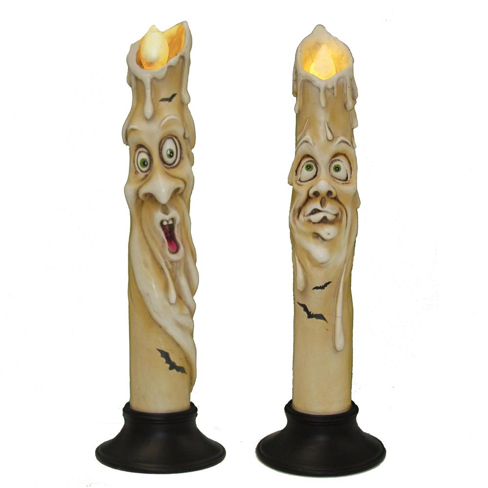 Kurt Adler 12-Inch Haunted Candle With LED Light Tabletop decor, 2 Assorted, HW1758