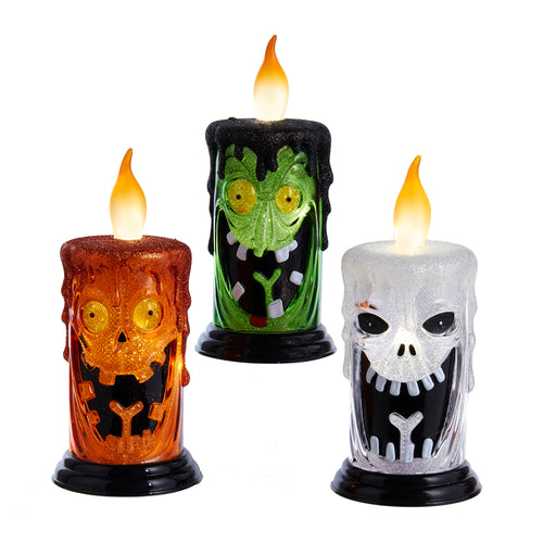 Battery-Operated LED Halloween Candle, Pumpkin Frankenstein, Ghost, HW!782