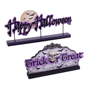 Wooden Cut-Out Halloween Sign, Trick or Treat/Happy Halloween, HW1791