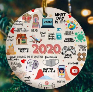 "2020 Christmas Round Ceramic Ornament ""A Year to Remember"""