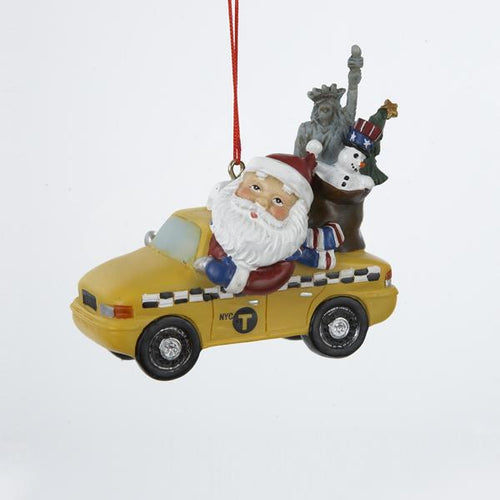 Kurt Adler Santa Driving New York City Taxi Ornament, J1340