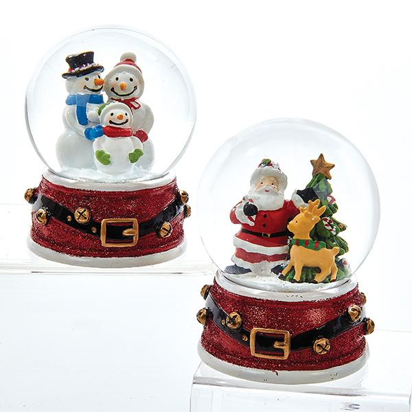 Kurt Adler Santa and Snowmen Snow Globes, 2 Assorted, J3252