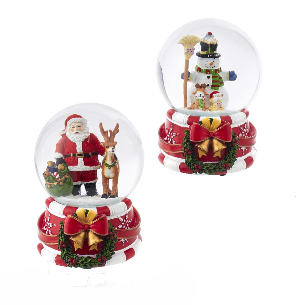 Kurt Adler 100MM Santa and Snowman Musical Water Globe, Choose santa or snowman, J3262