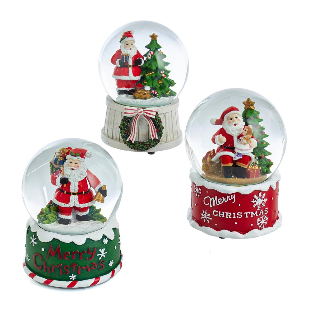 Kurt Adler 100MM Santa Musical Snow Globes, 3 Assorted, J3265
