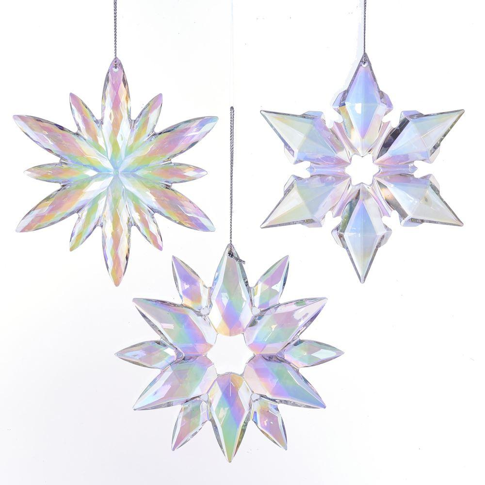 Kurt Adler Kurt Adler 4.75-Inch Purple and Blue Snowflake Ornaments, 3 Assorted, J4763