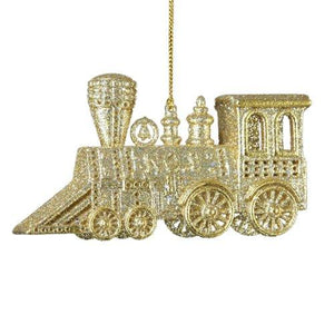 Kurt Adler Platinum and Champagne Glitter Train Acrylic Ornament, J4797