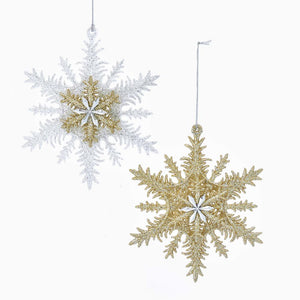 Kurt Adler Silver and Gold Acrylic 3D Snowflake Ornaments, 2 Assorted, J5054