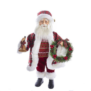 "Kurt Adler 18"" Tartan Plaid Standing Santa Table Piece Figure, J6085"