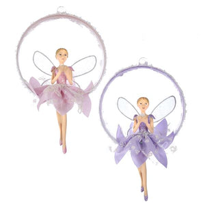 Fairy Ballerina Swinging on Ball Ornament, Set of 2, J7392