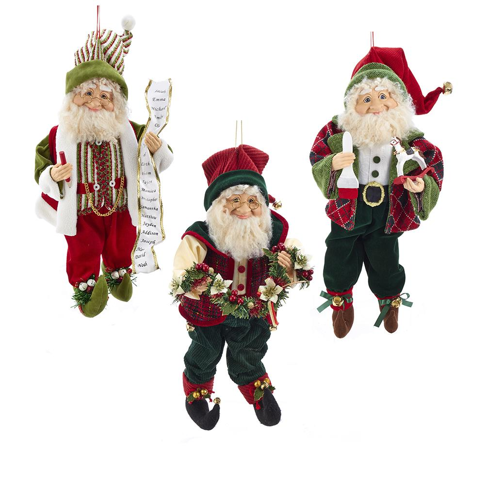 Kurt Adler 18-Inch KSA Kringles Elf Ornaments, 3 Assorted, KK0057