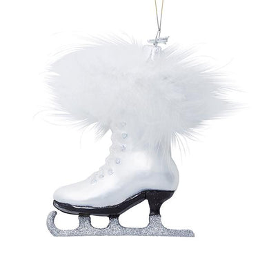 Kurt Adler Noble Gems White Ice Skate Glass Ornament, NB0223