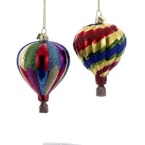 Kurt Adler Noble Gems Hot Air Balloon Glass Ornaments, 2 Assorted, NB0344