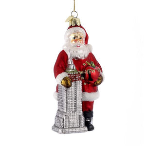 Kurt Adler Noble Gems Santa With Empire State Building Glass Ornament, NB0661