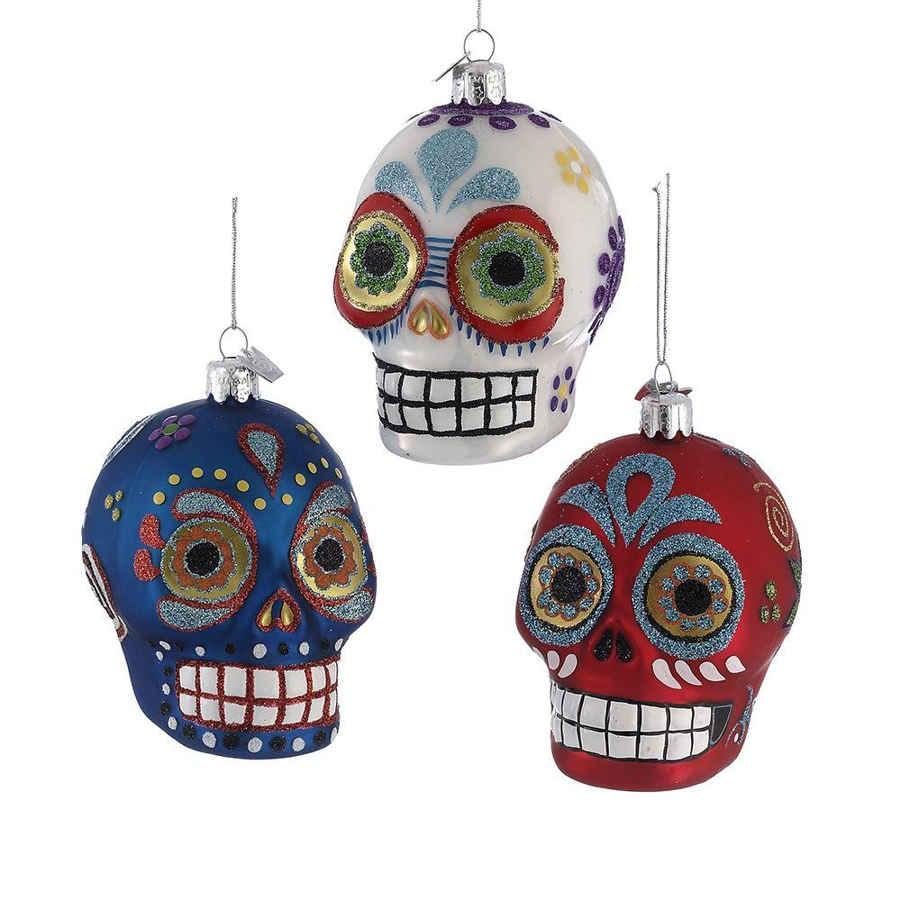 Kurt Adler Noble Gems Sugar Skull Glass Ornaments, 3 Assorted, NB0830