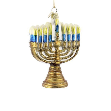Kurt Adler Noble Gems Gold Menorah Glass Ornament, NB0957