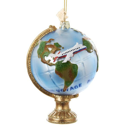 Kurt Adler Noble Gems Globe With Airplane Glass Ornament, NB1069