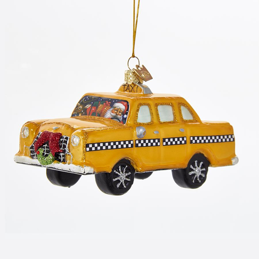 Kurt Adler Noble Gems Taxi With Santa Glass Ornament, NB1209
