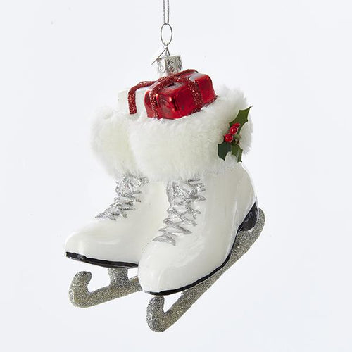 Kurt Adler Noble Gems Ice Skate Boots Glass Ornament, NB1215