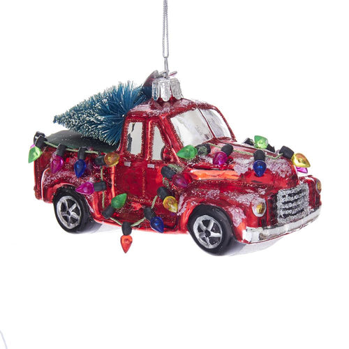Kurt Adler Noble Gems Glass Truck With Tree Ornament, NB1302