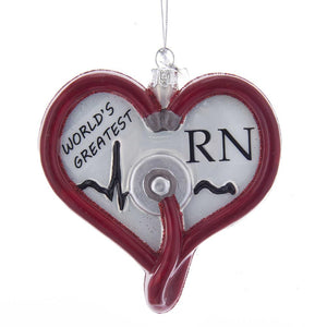 Kurt Adler Noble Gems Nurse Glass Ornament, NB1341