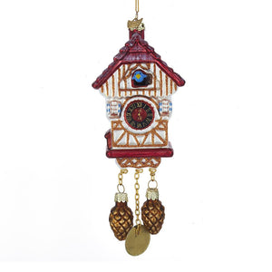 Kurt Adler Noble Gems Cuckoo Clock Glass Ornament, NB1374
