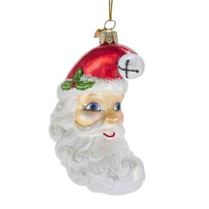 Kurt Adler Noble Gems Glass Santa Moon Face Ornament, NB1411