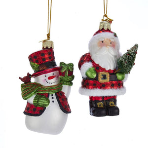 Kurt Adler Noble Gems Santa And Snowman Ornaments, 2 Assorted, NB1442