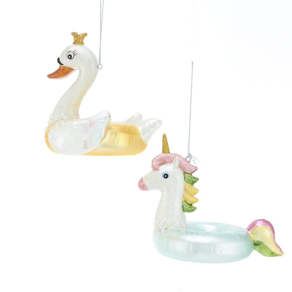 Kurt Adler Noble Gems Swan And Unicorn Float Glass Ornaments, 2 Assorted, NB1465