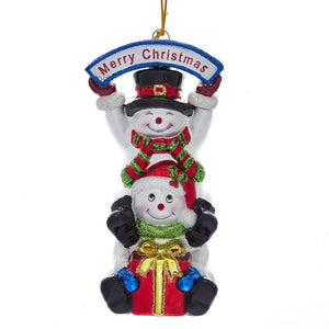 Kurt Adler Noble Gems Stacked Snowman Ornament, NB1512