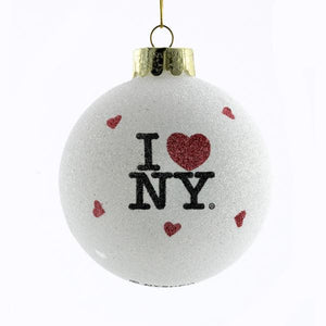 Kurt Adler 80MM I Love NY Glass Ball Ornament, NY0708