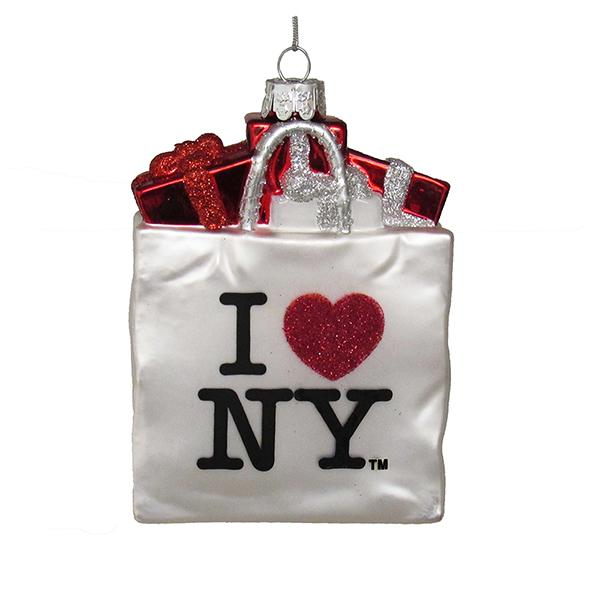 Kurt Adler I Love NY Shopping Bag Glass Ornament, NY4117