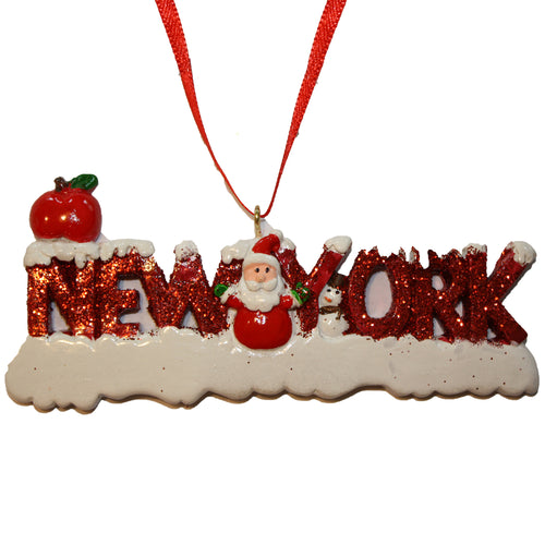 New York Word Santa Ornament for Personalization, CC009
