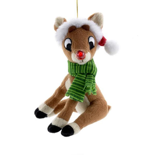 Kurt Adler Rudolph The Red Nose Reindeer Miniature Plush Ornament, RU7113