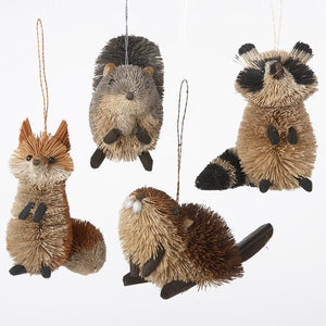 Kurt Adler Buri Woodland Animal Ornaments, 4 Assorted, S0706