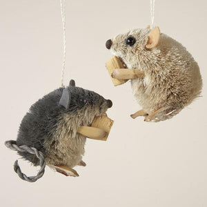 Kurt Adler Buri Sitting Mouse With Cheese Ornaments, 2 Assorted, S0711
