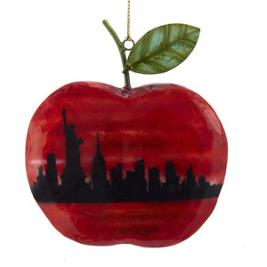 "Kurt Adler 4.75""Capiz/Tin NY Apple Ornament        , S3984"