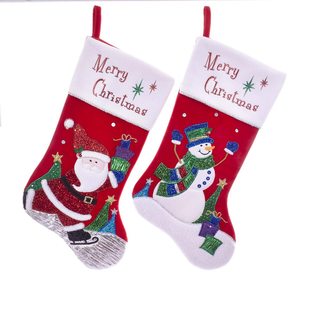 Kurt Adler Velvet Santa and Snowman Applique Stockings, 2 Assorted, SG0207