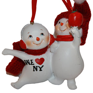 "Resin ""We Love New York"" Family of 2 Snowman Couple Christmas Ornament, CC004"