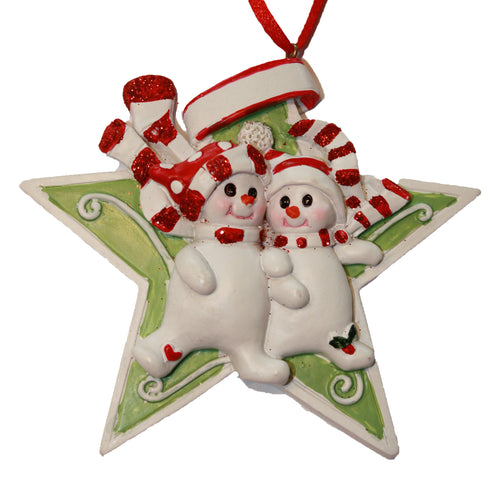Snowman Star Family of 2 Couple Ornament for Personalization, CC001