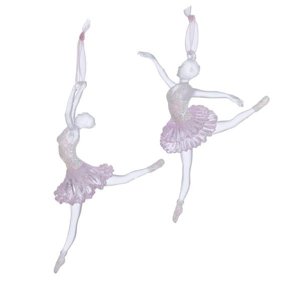 Kurt Adler Clear and Pink Ballerina Ornaments, 2 Assorted, T1298