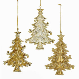 Kurt Adler Gold Glitter Christmas Tree Acrylic Ornaments, 3 Assorted, T2100