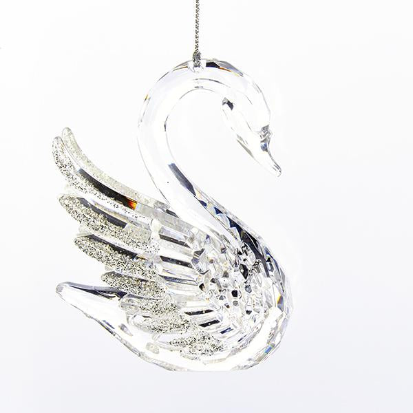 Kurt Adler Clear Swan With Glittered Wings Acrylic Ornament, T2104